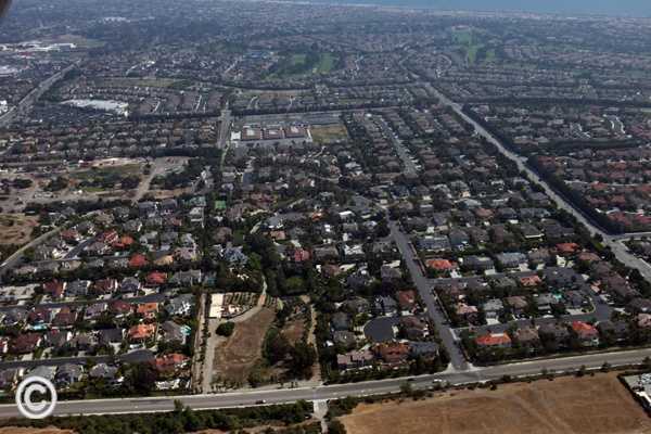 View of Edwards Hill area of Huntington Beach looking toward ocean.