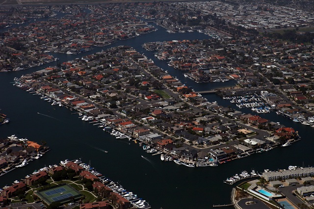 Davenport Island area of Huntington Harbour as seen from the air.