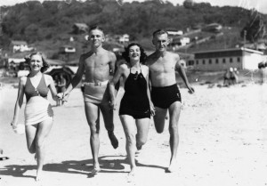 Beachgoers at Burleigh Heads, 1938