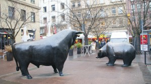 The bear and bull statues face each other in Frankfurt, a major financial center of Europe